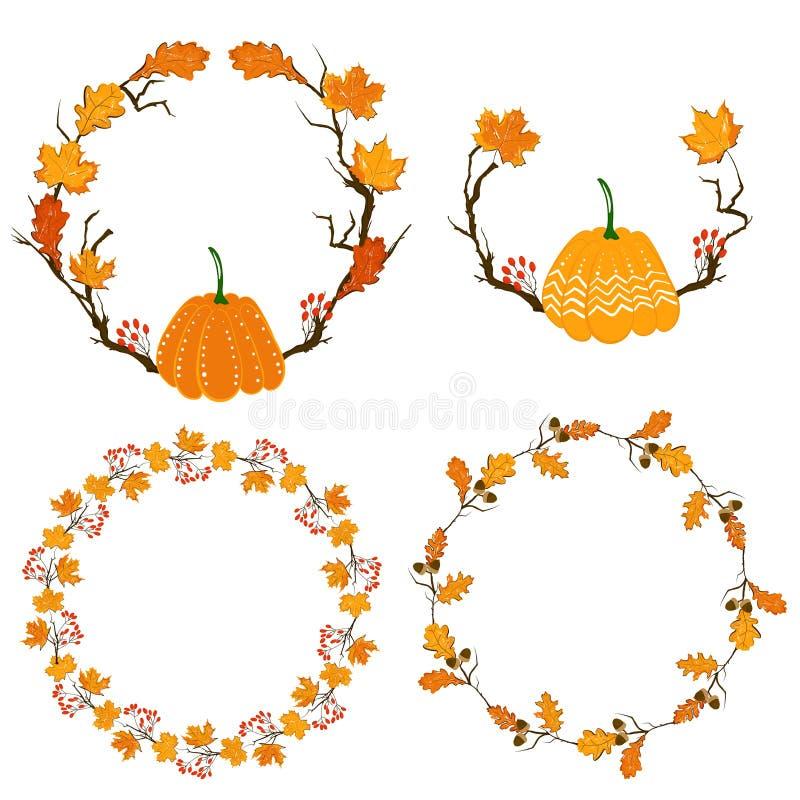Marco de la estación del otoño con la calabaza, las hojas de arce y las bayas rojas, rama seca Elemento de la decoración de la ca stock de ilustración