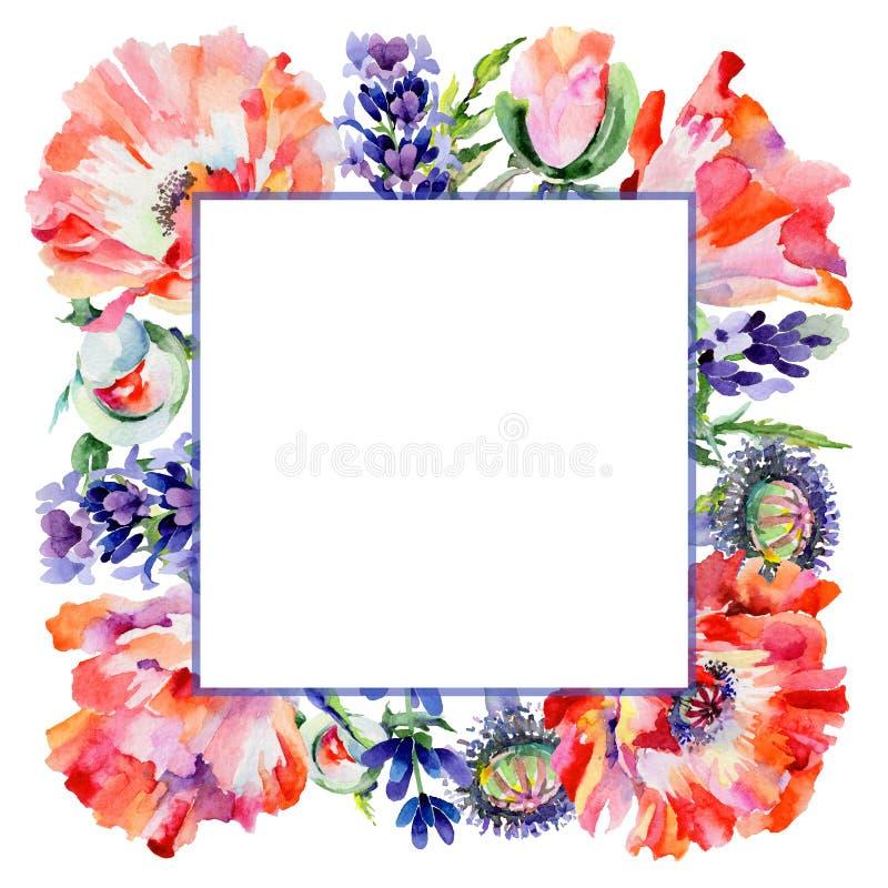 Download Marco De La Flor De La Amapola Del Wildflower En Un Estilo De La Acuarela Stock de ilustración - Ilustración de follaje, hoja: 100526973