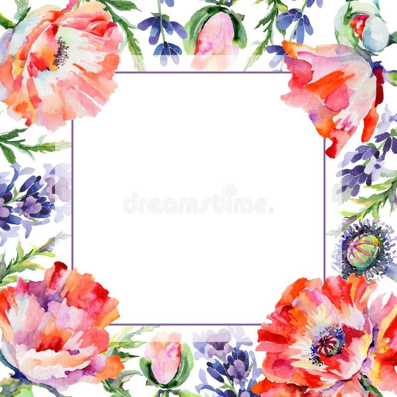 Download Marco De La Flor De La Amapola Del Wildflower En Un Estilo De La Acuarela Stock de ilustración - Ilustración de colorido, mano: 100527043