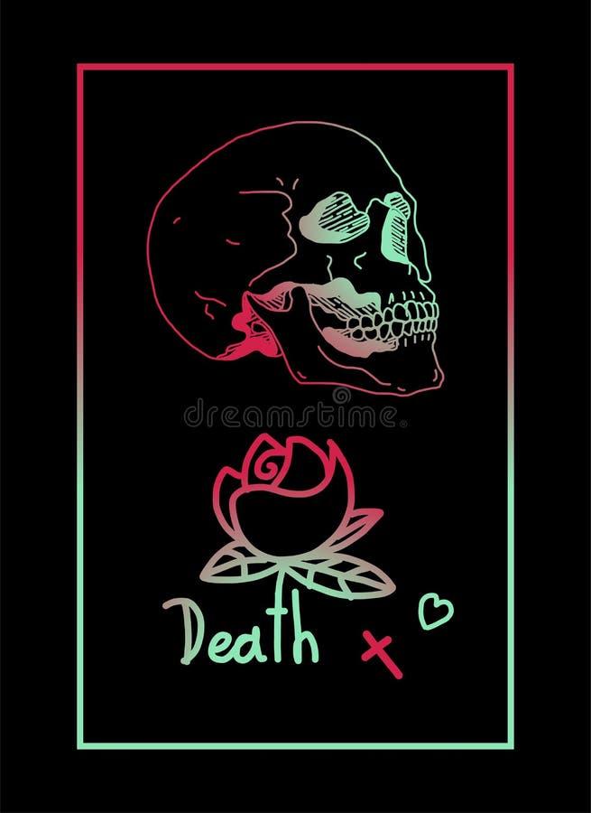 Marco De La Flor Del Cráneo De La Muerte Ilustración del Vector ...