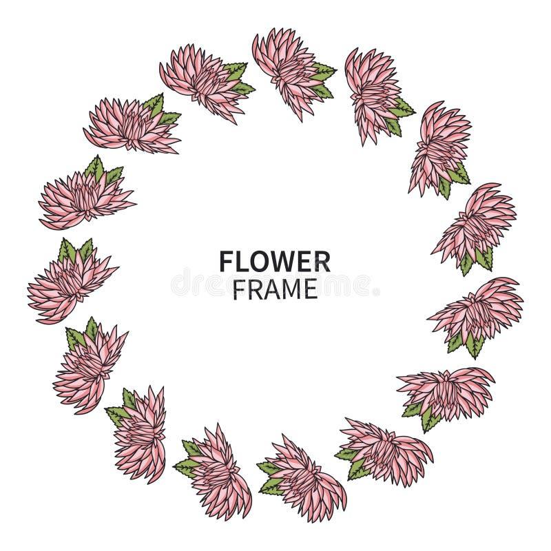 Marco de la flor del crisantemo Impresión floral de la guirnalda para la tarjeta y la invitación de felicitación Ramo hermoso con stock de ilustración