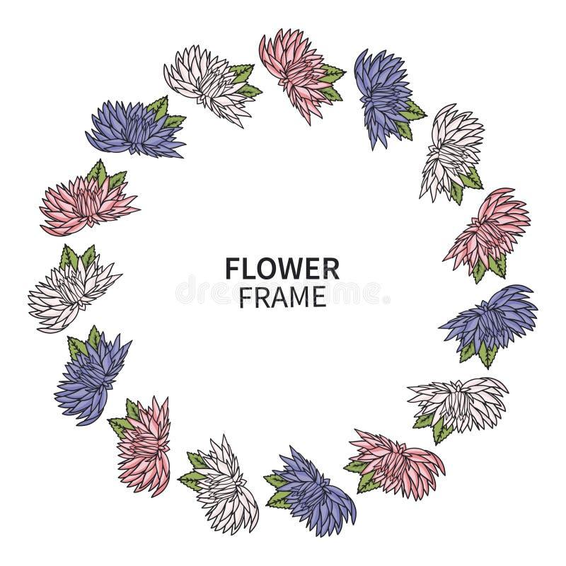 Marco de la flor del crisantemo Impresión floral de la guirnalda para la tarjeta y la invitación de felicitación Ramo hermoso con ilustración del vector