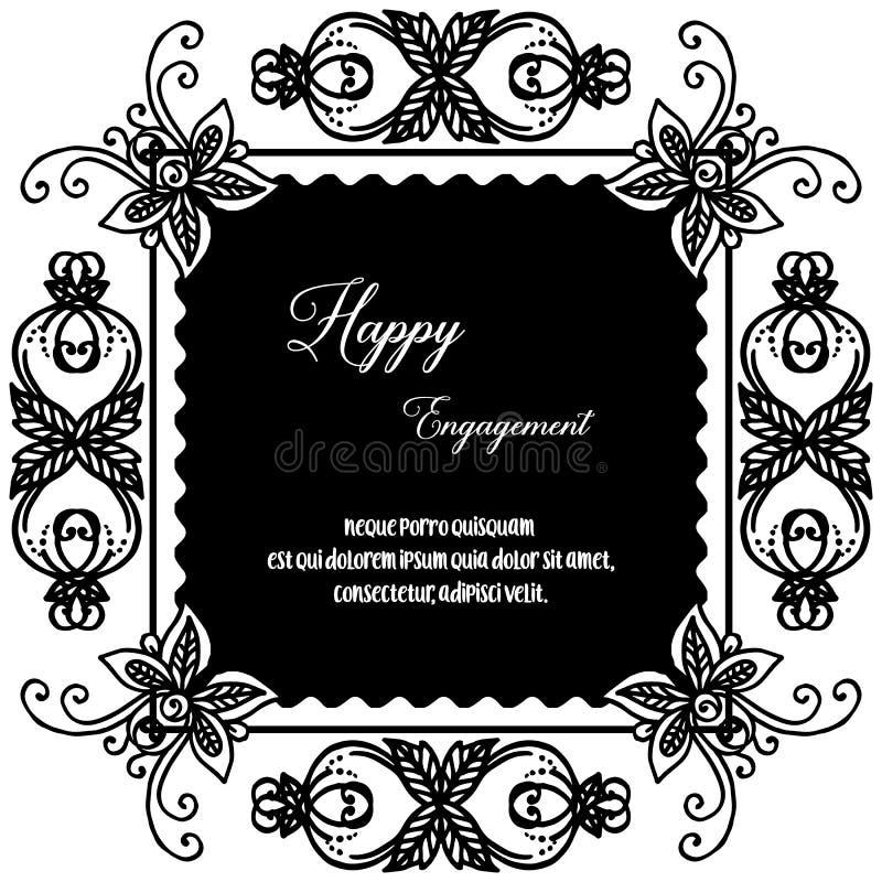 Marco de la flor del papel pintado de la decoración, fondo blanco negro, compromiso feliz de la tarjeta adornada Vector ilustración del vector