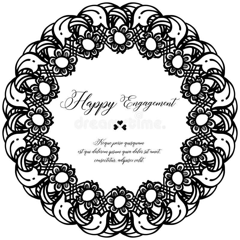 Marco de la flor del papel pintado de la decoración, fondo blanco negro, compromiso feliz de la tarjeta adornada Vector stock de ilustración