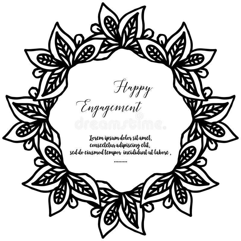 Marco de la flor del papel pintado de la decoración, fondo blanco negro, compromiso feliz de la tarjeta adornada Vector libre illustration