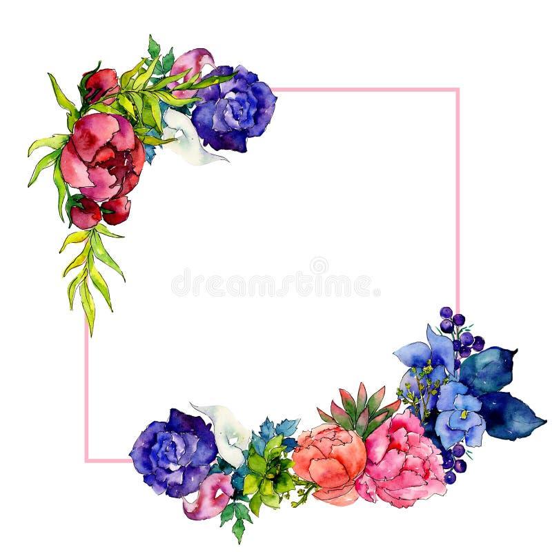 Marco de la flor del wildflower del ramo en un estilo de la acuarela ilustración del vector