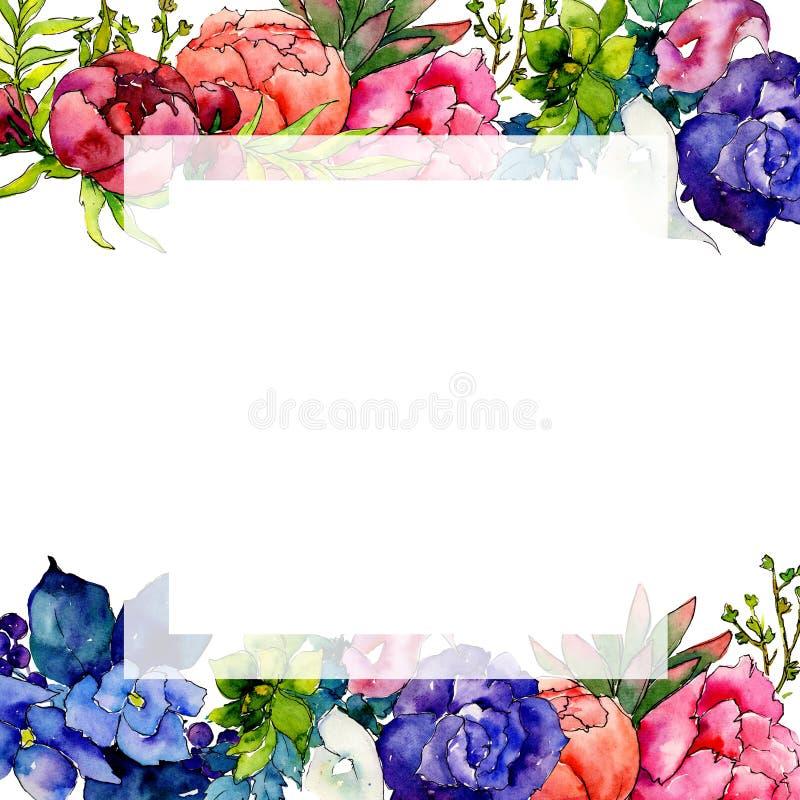Marco de la flor del wildflower del ramo en un estilo de la acuarela libre illustration