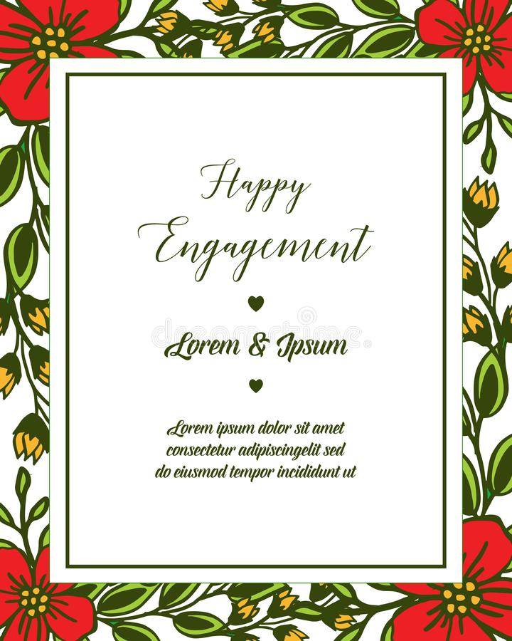Marco de la flor de la hoja del ejemplo del vector con la letra del compromiso feliz libre illustration