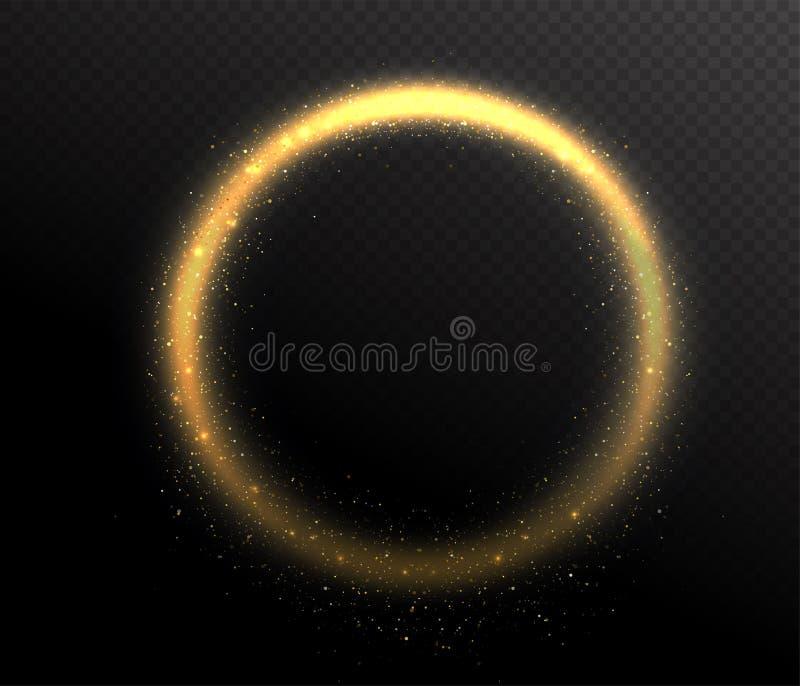 Marco de la forma redonda del círculo del brillo de la chispa Polvo del resplandor en el aire stock de ilustración