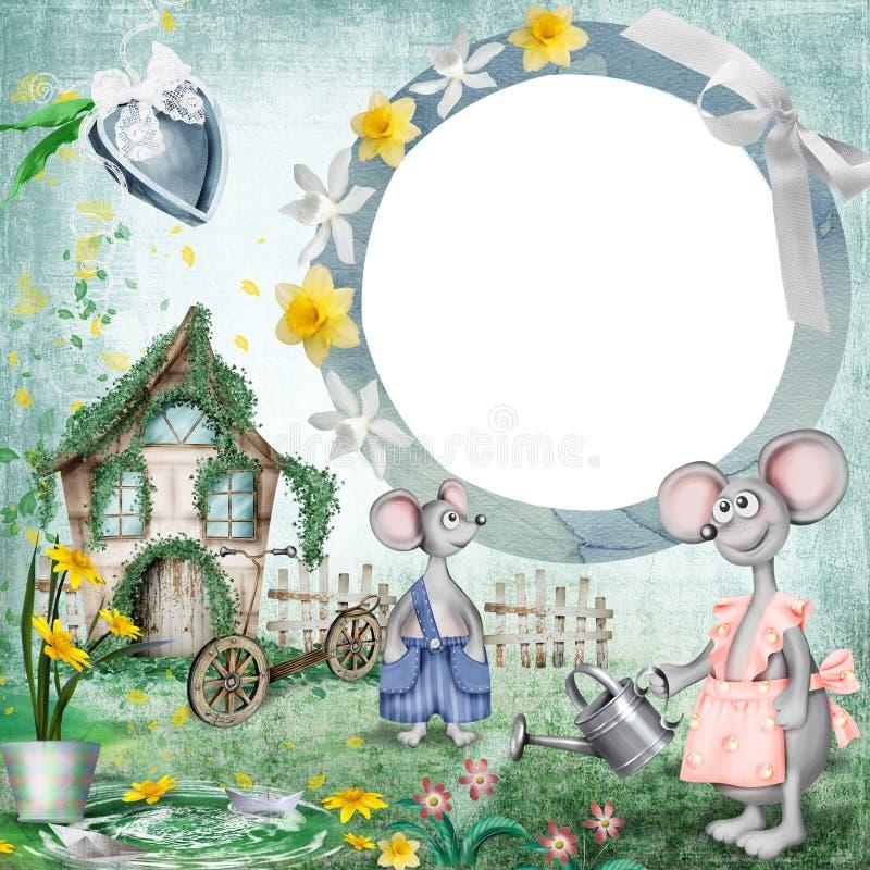 Marco de la foto de la casa del ratón Bandera de la belleza para la fiesta de bienvenida al bebé stock de ilustración