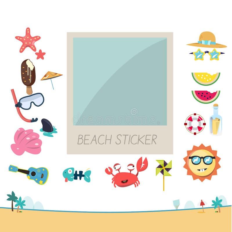 Marco de la foto con el sistema de la etiqueta engomada de la playa a adornar polaroid Verano stock de ilustración