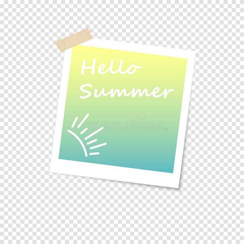Marco de la foto con la sombra en un fondo transparente Diseño retro Hola ejemplo del vector del verano Marco polaroid imagenes de archivo