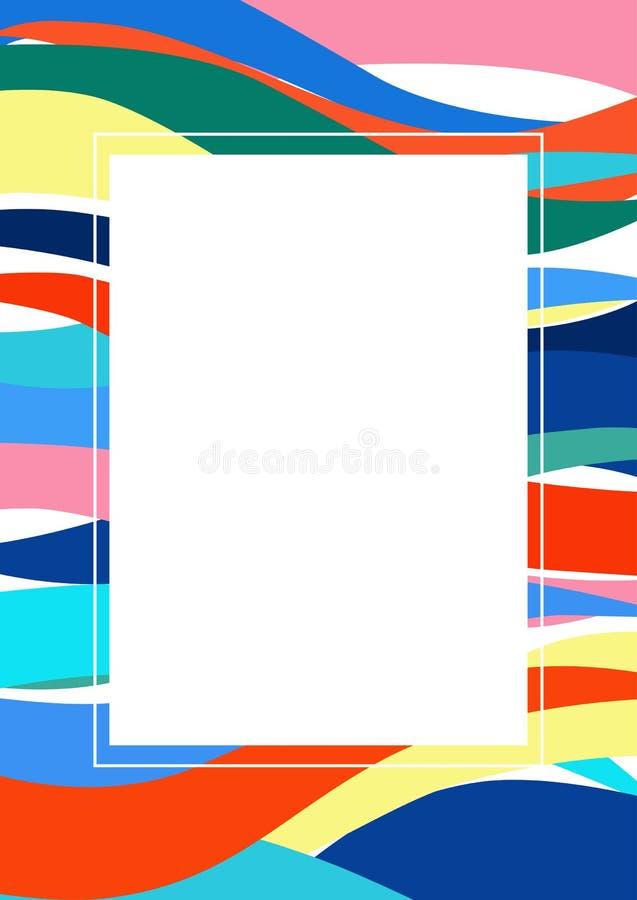 Marco de la foto con un sistema de ondas multicoloras ilustración del vector