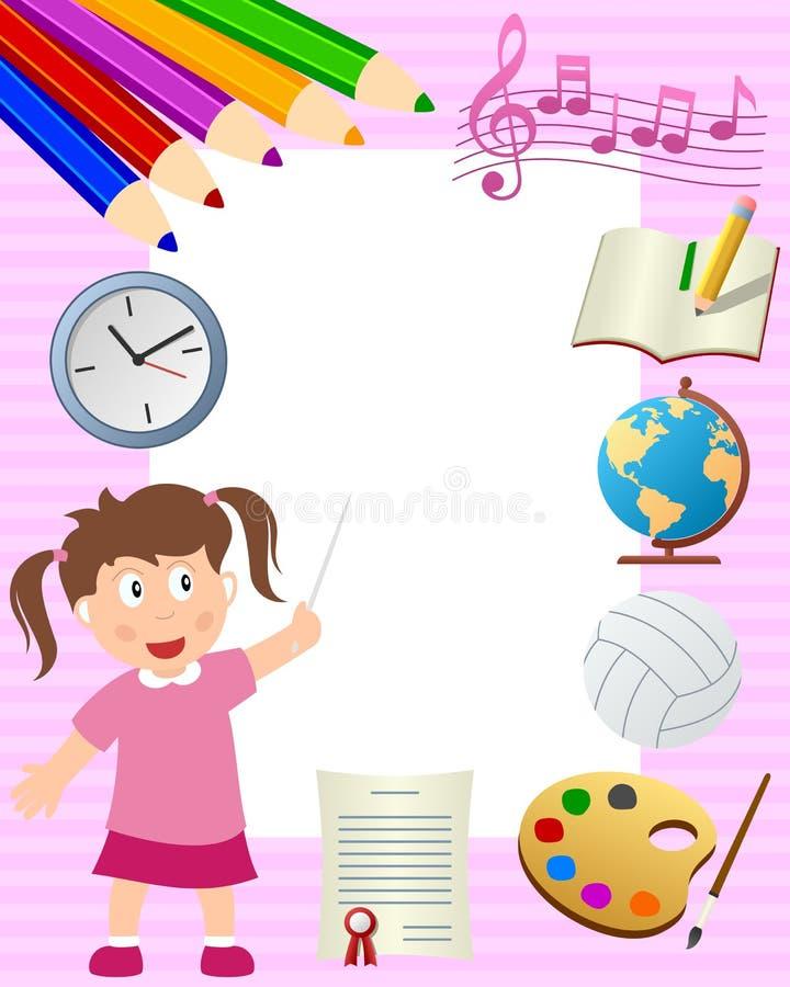 Marco de la foto de la muchacha de la escuela stock de ilustración