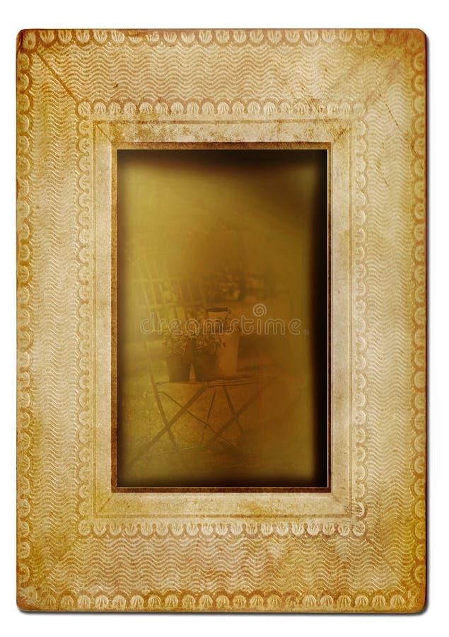 Marco de la foto de la vendimia contra blanco foto de archivo