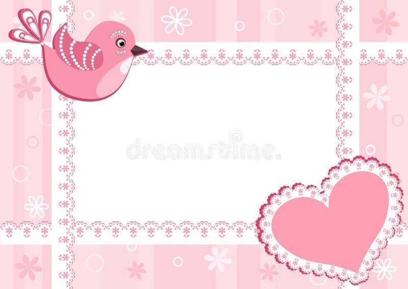 Marco de la foto del bebé con el pájaro. ilustración del vector