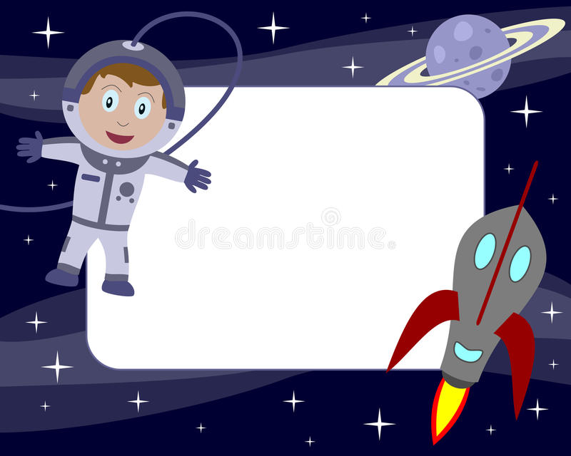 Marco de la foto del cabrito del astronauta [1] stock de ilustración