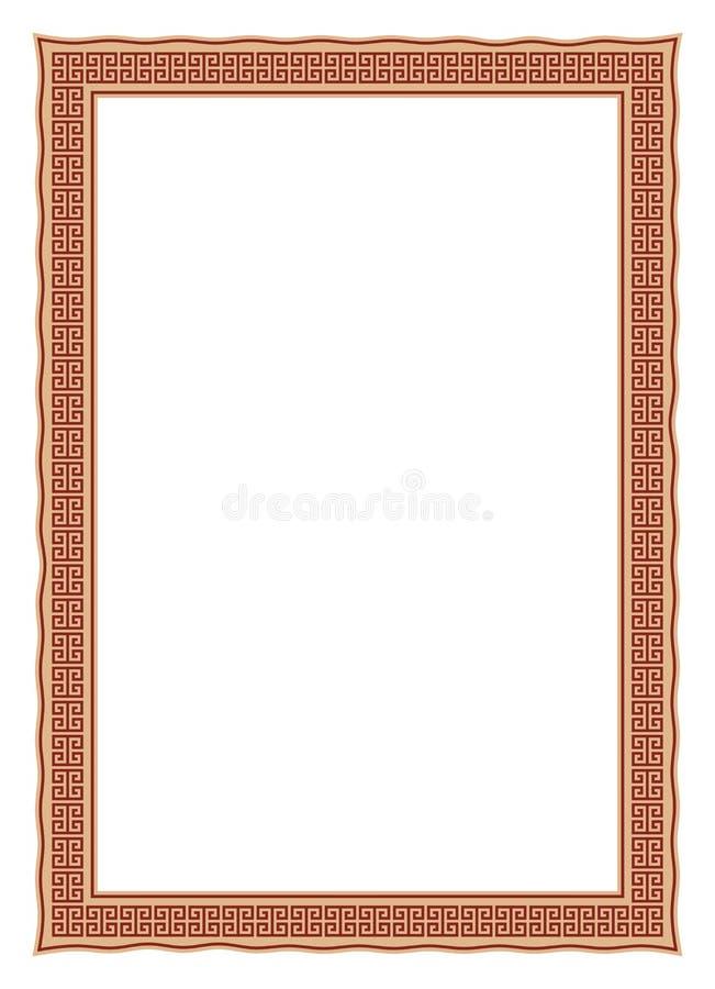 Marco de la foto del laberinto con contorno de la onda y colores antiguos en un fondo blanco aislado libre illustration