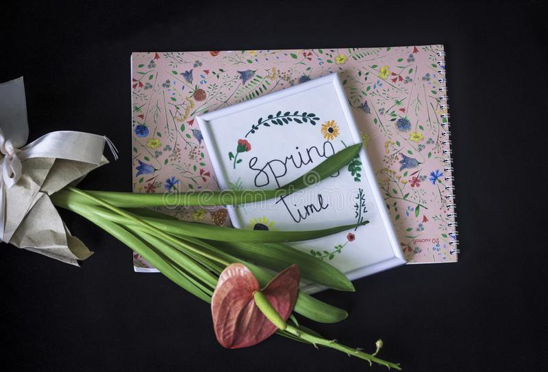 Marco de la foto del tiempo de primavera en fondo negro imágenes de archivo libres de regalías
