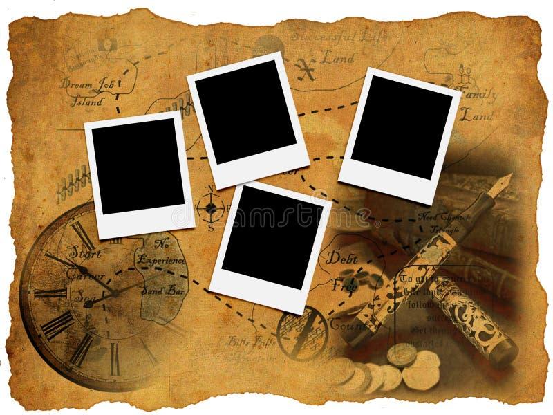 Marco de la foto en correspondencia vieja fotos de archivo libres de regalías