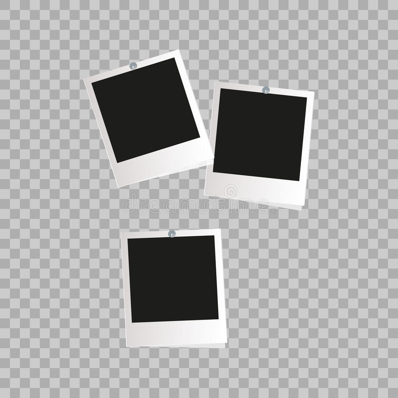 Marco de la foto Frontera plástica blanca en un fondo transparente Ilustración del vector Marco retro fotorrealista de la foto de ilustración del vector