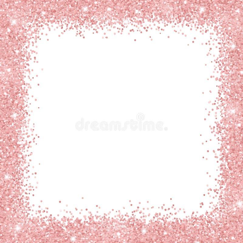 Marco de la frontera con brillo color de rosa del oro en el fondo blanco Vector stock de ilustración