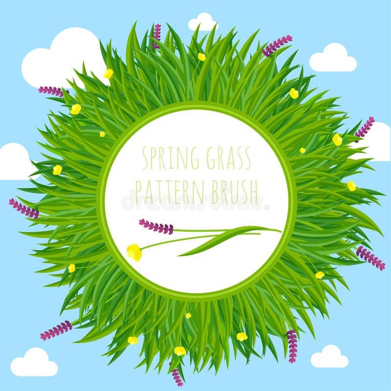 Marco de la frontera de cepillo del modelo de la hierba de la primavera libre illustration