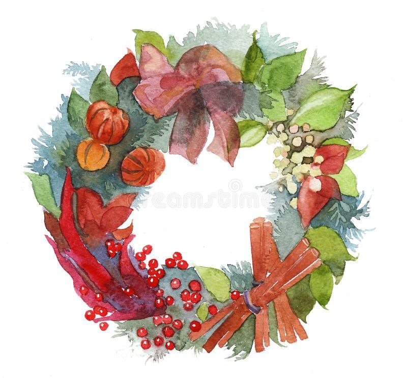 Marco de la guirnalda de la Navidad de la acuarela aislado en el fondo blanco stock de ilustración