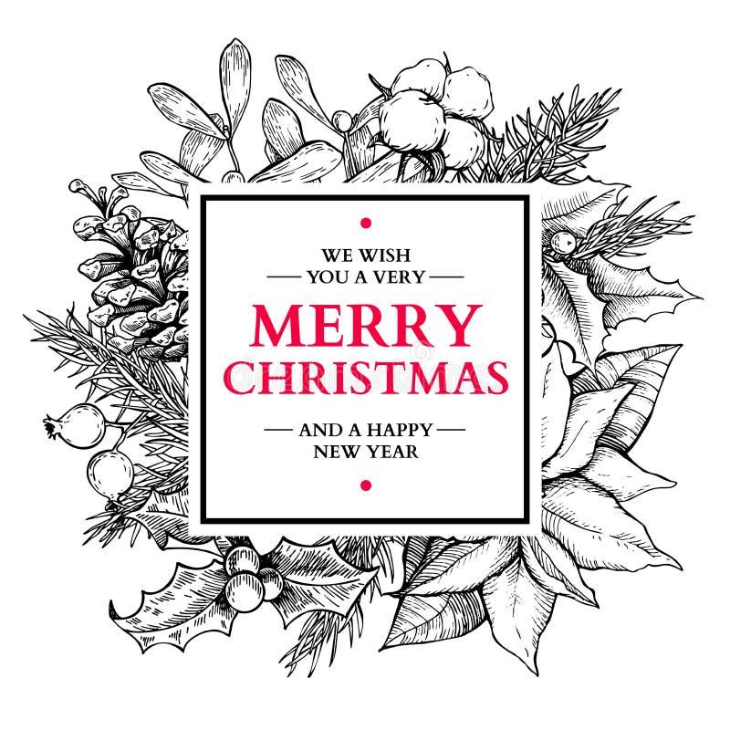Marco de la guirnalda de la Navidad Ejemplo dibujado mano del vector con el holl libre illustration
