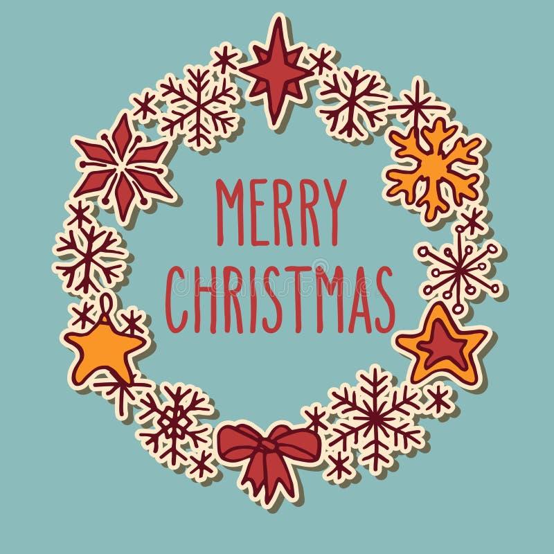 Marco de la guirnalda del garabato de la Navidad con saludos stock de ilustración