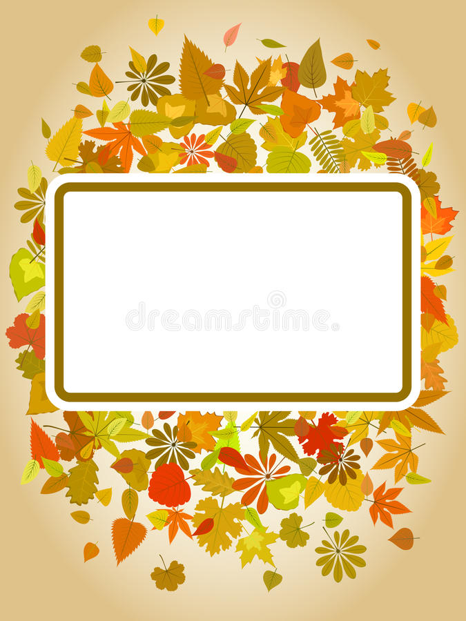 Marco de la hoja del otoño con el espacio para el texto ilustración del vector