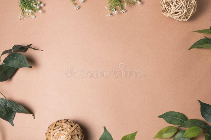 Marco de la hoja en marrón fotografía de archivo