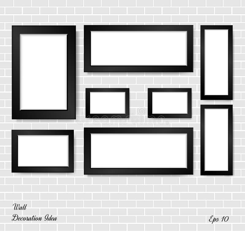 Marco de la imagen y de la foto en la pared de ladrillo blanca libre illustration
