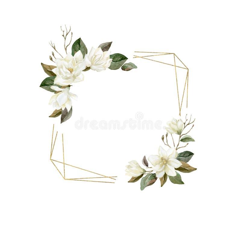 Marco de la magnolia de la acuarela con la forma cristalina del oro ilustración del vector