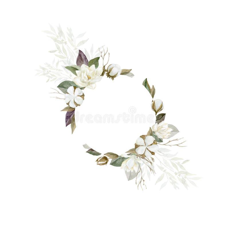 Marco de la magnolia y del algod?n de la acuarela con las plantas y las hojas stock de ilustración
