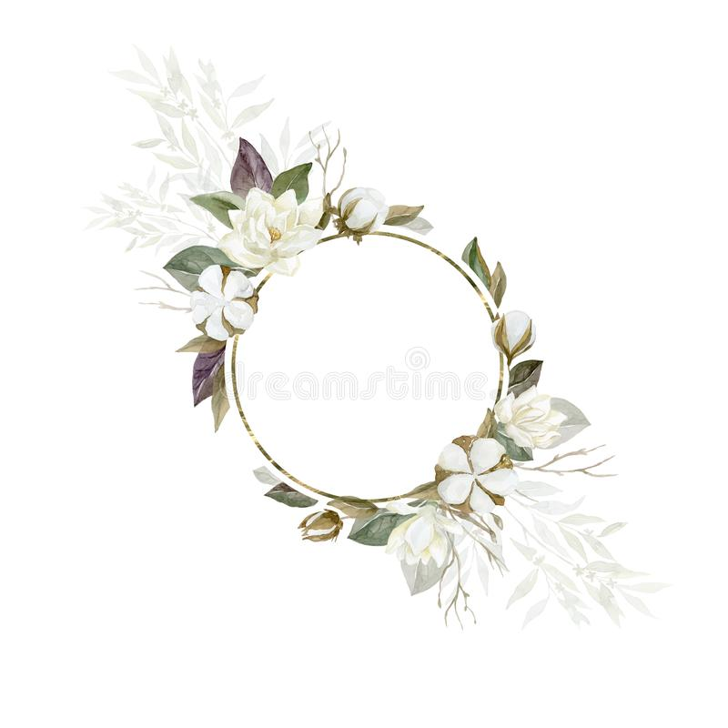 Marco de la magnolia y del algod?n de la acuarela con las plantas y las hojas imágenes de archivo libres de regalías
