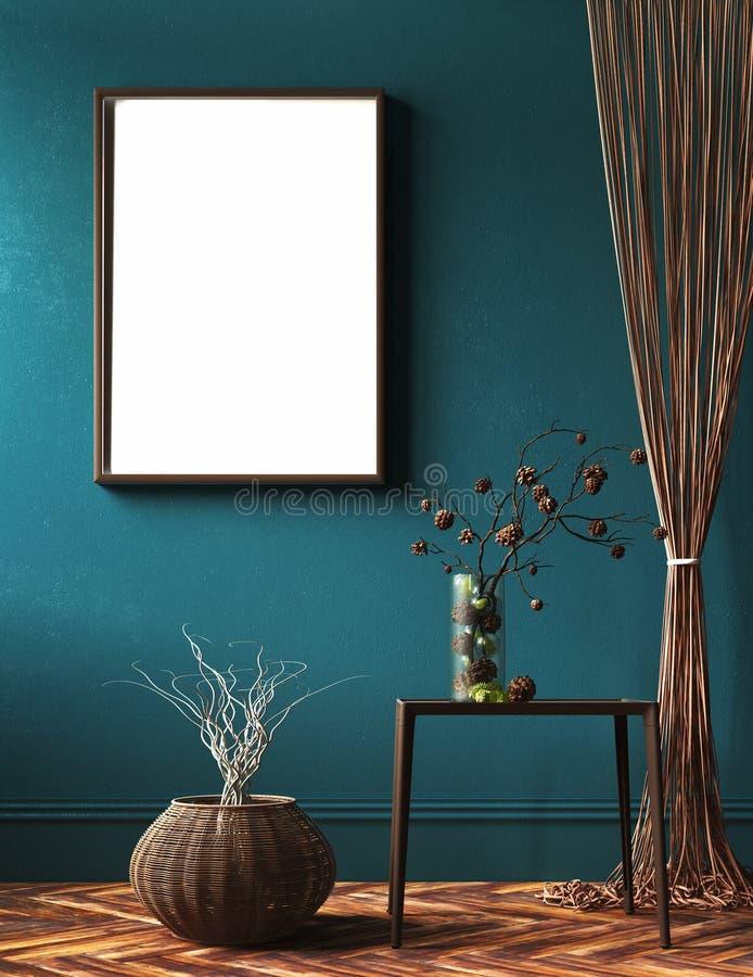 Marco de la maqueta en sala de estar con las cortinas de la cuerda y el ramo de rama en la tabla imagenes de archivo