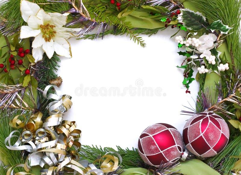 Marco de la Navidad con el fondo blanco foto de archivo libre de regalías