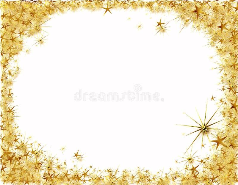 Marco de la Navidad con las estrellas de oro ilustración del vector