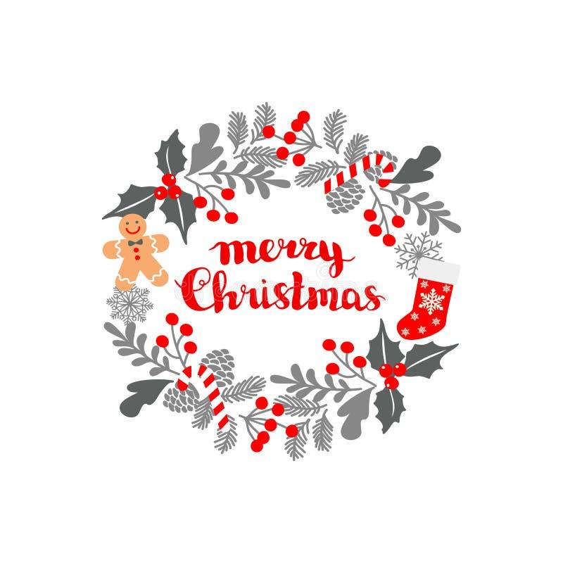 Marco de la Navidad del invierno, ejemplo del vector Tarjeta de felicitación de la Navidad con la guirnalda, los calcetines de la libre illustration