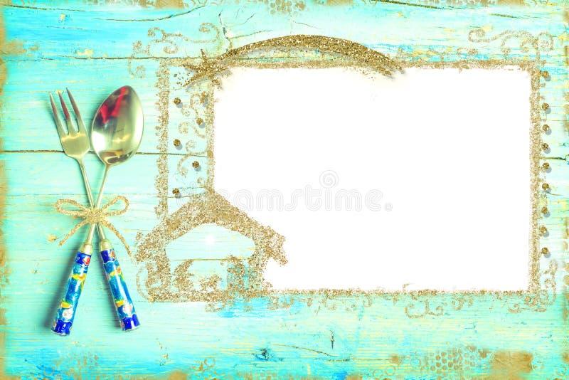 Marco de la Navidad del oro con los cubiertos fotografía de archivo