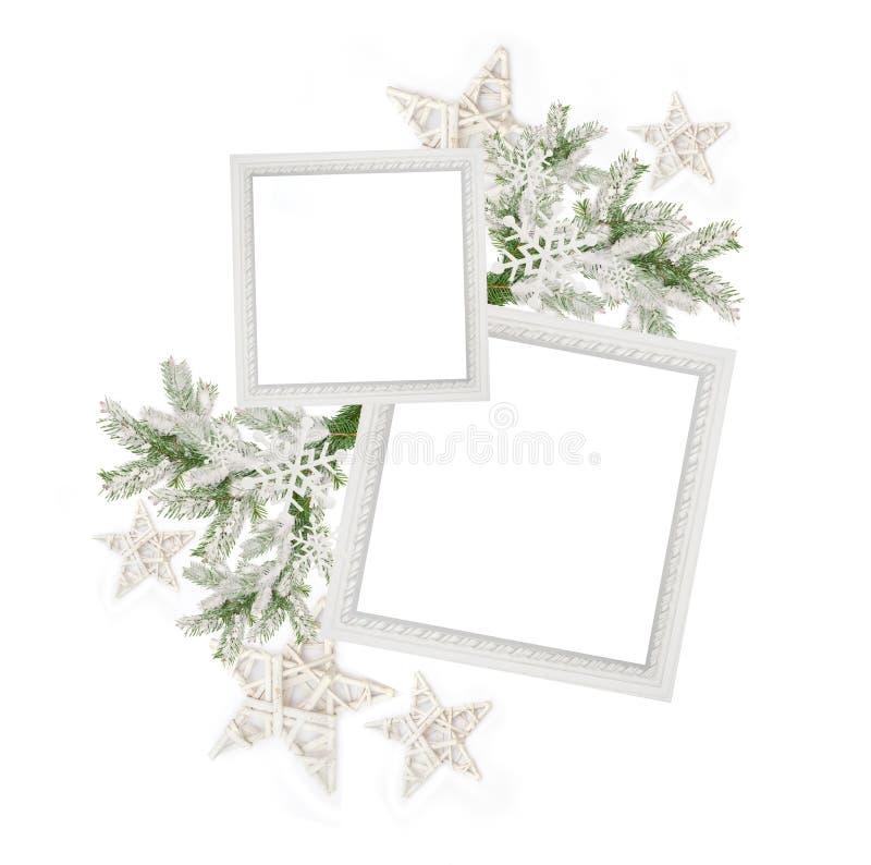 Marco de la Navidad dos y una rama de árbol de navidad con las estrellas imágenes de archivo libres de regalías