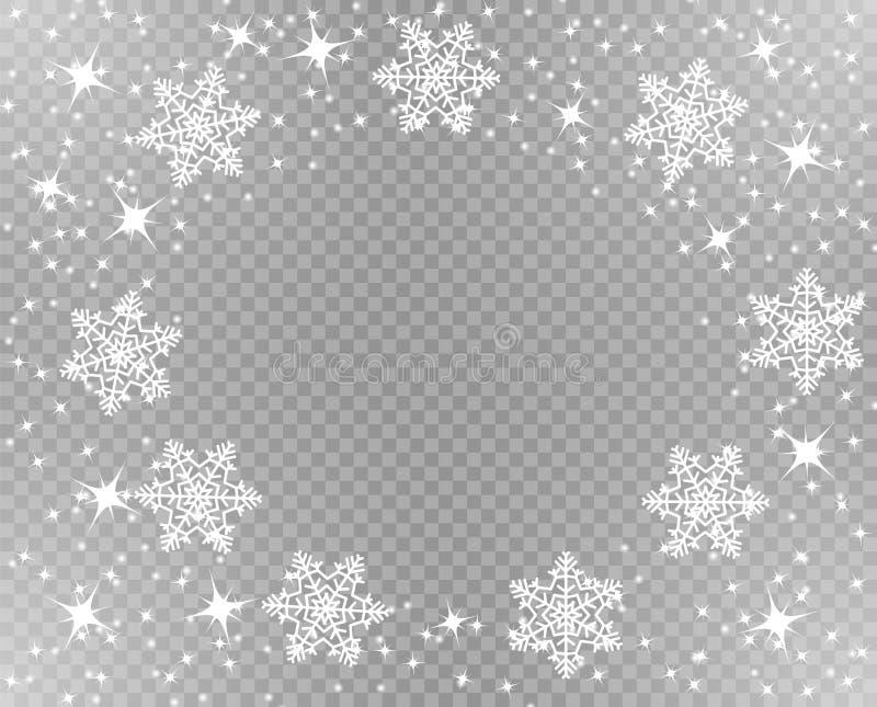 Marco de la Navidad Nevado Estrellas y copos de nieve chispeantes en blanco Decoración de la capa Ejemplo del vector en fondo tra ilustración del vector