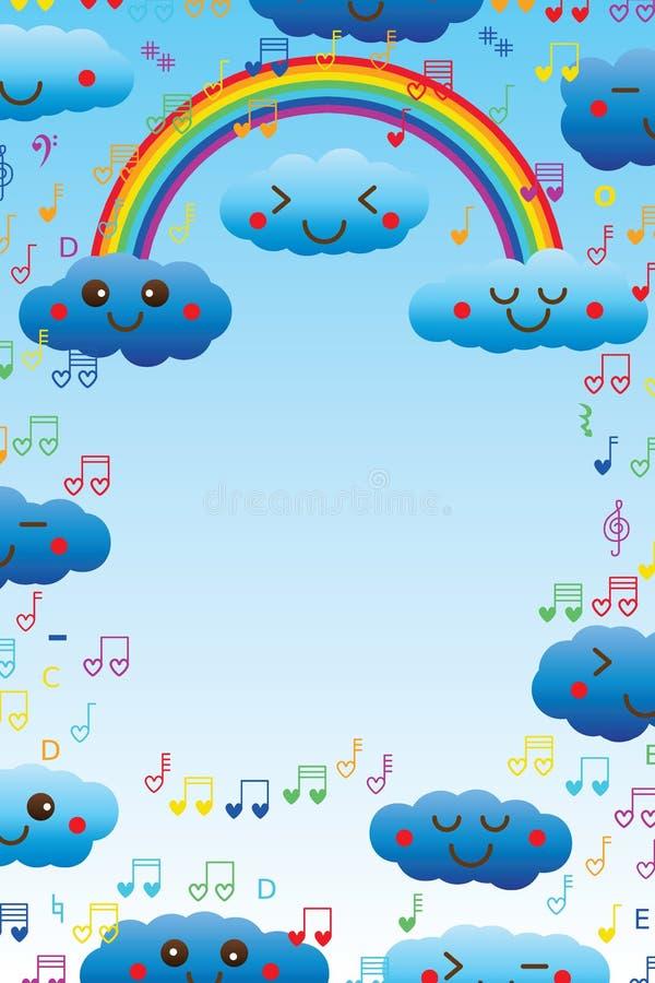 Marco de la nota de la música del amor del arco iris de la nube libre illustration