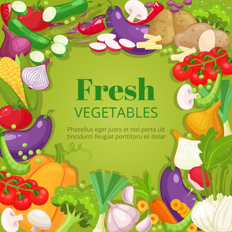 Marco de la opinión superior de las verduras Diseño del menú del mercado de los granjeros Cartel del alimento biológico Vector di stock de ilustración