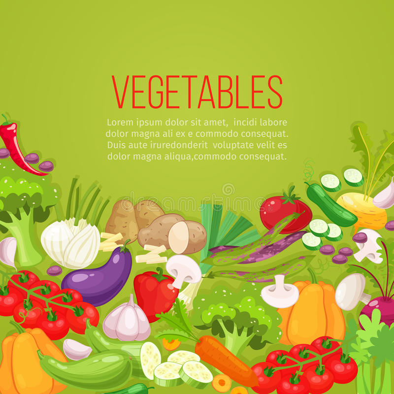 Marco de la opinión superior de las verduras Diseño del menú del mercado de los granjeros Cartel del alimento biológico Vector di libre illustration