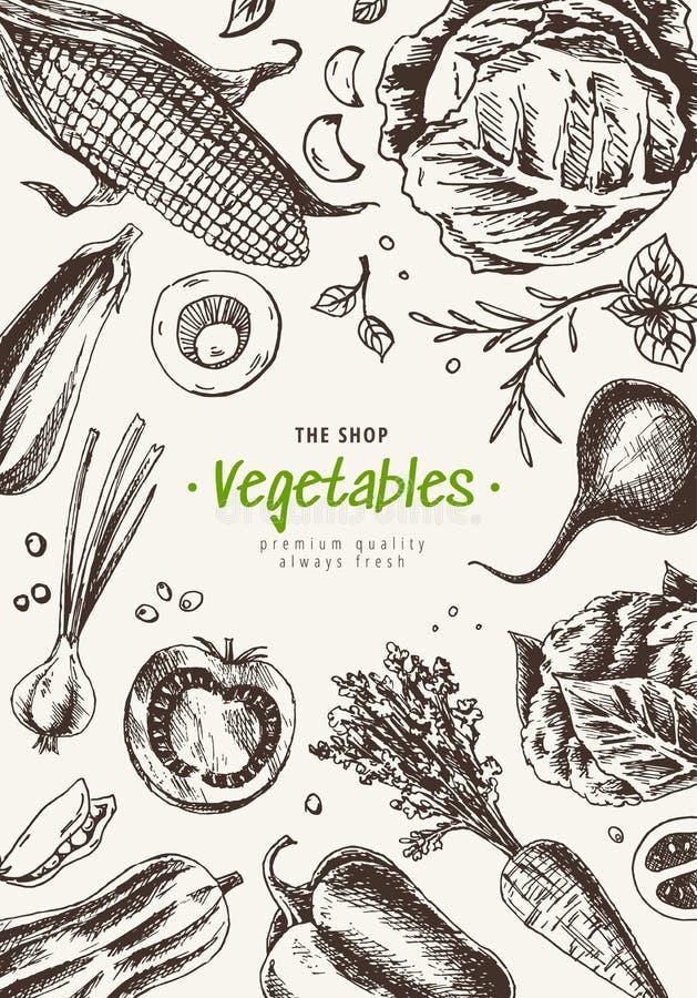 Marco de la opini?n superior de las verduras Dise?o del men? del mercado de los granjeros Cartel del alimento biol?gico Mano dibu ilustración del vector