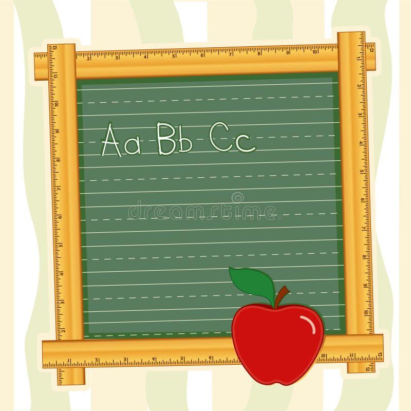 marco de la pizarra de +EPS, ABCs, Apple para el profesor stock de ilustración