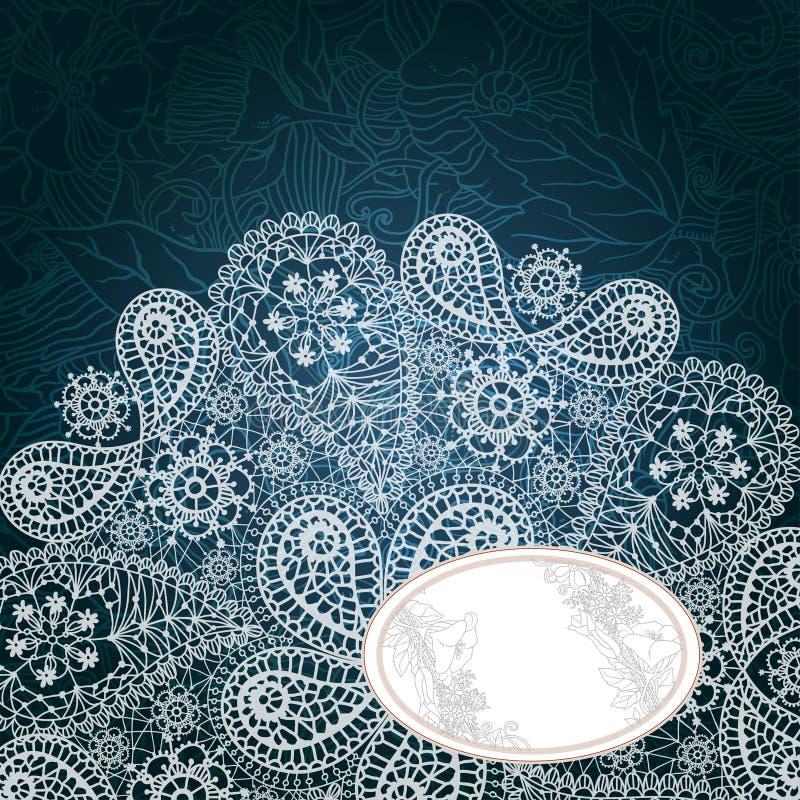 Marco de la plantilla para la tarjeta con el copo de nieve del cordón. stock de ilustración