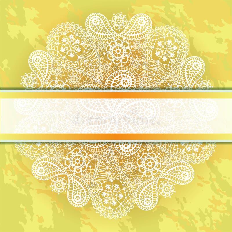 Marco de la plantilla para la tarjeta con el copo de nieve del cordón. ilustración del vector